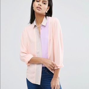 ASOS Color Block Blouse With Pleat Detail